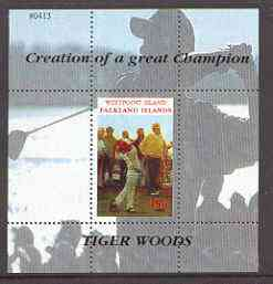 Westpoint Island (Falkland Islands) 2000 Tiger Woods (Creation of a Great Champion) perf souvenir sheet (45p value) unmounted mint