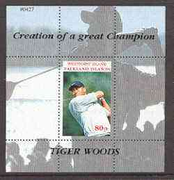 Westpoint Island (Falkland Islands) 2000 Tiger Woods (Creation of a Great Champion) perf souvenir sheet (80p value) unmounted mint