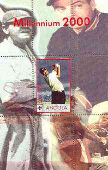Angola 2000 Millennium 2000 - Tiger Woods perf s/sheet (background shows Babe Ruth & Ali) unmounted mint