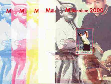 Angola 2000 Millennium 2000 - Tiger Woods s/sheet (Mohammed Ali & Babe Ruth in background) the set of 5 imperf progressive proofs comprising various colour combinations i...