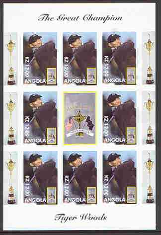 Angola 2000 Tiger Woods (The Great Champion) imperf sheetlet containing 8 values plus label for Ryder Cup, unmounted mint