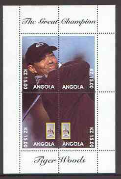 Angola 2000 Tiger Woods (The Great Champion) perf sheetlet containing 4 values (single image) unmounted mint