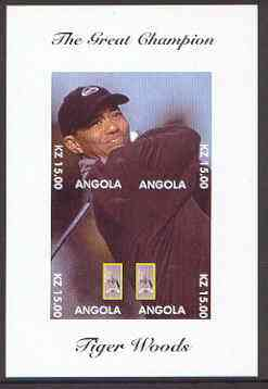 Angola 2000 Tiger Woods (The Great Champion) imperf sheetlet containing 4 values (single image) unmounted mint