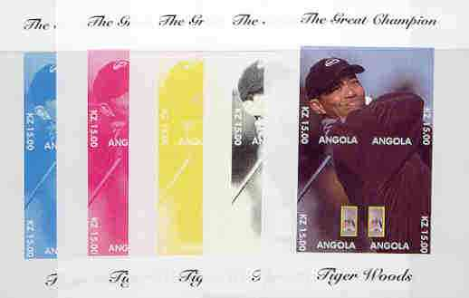 Angola 2000 Tiger Woods (The Great Champion) sheetlet containing 4 values (single image) the set of 5 imperf progressive proofs comprising various colour combinations incl complete design unmounted mint