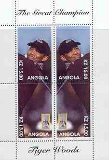 Angola 2000 Tiger Woods (The Great Champion) perf sheetlet containing 4 values (mirror image) unmounted mint