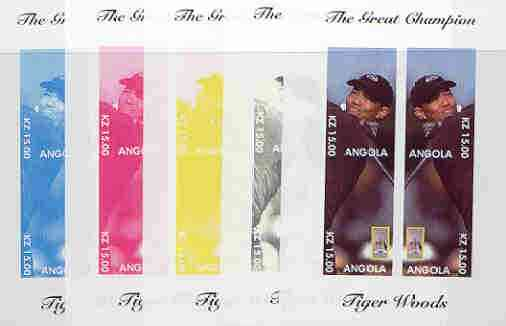 Angola 2000 Tiger Woods (The Great Champion) sheetlet containing 4 values (mirror image) the set of 5 imperf progressive proofs comprising various colour combinations incl complete design unmounted mint