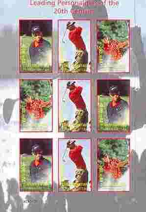 Turkmenistan 2000 Tiger Woods (Leading Personalities of the 20th Century) imperf sheetlet containing 9 values (3 sets of 3)