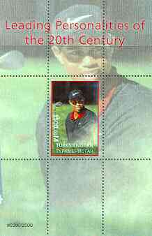 Turkmenistan 2000 Tiger Woods (Leading Personalities of the 20th Century) perf souvenir sheet #1