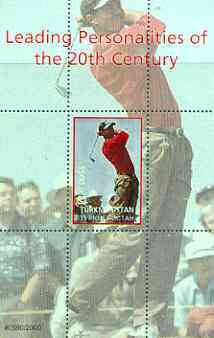 Turkmenistan 2000 Tiger Woods (Leading Personalities of the 20th Century) perf souvenir sheet #2