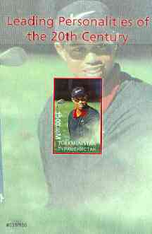 Turkmenistan 2000 Tiger Woods (Leading Personalities of the 20th Century) imperf souvenir sheet #1