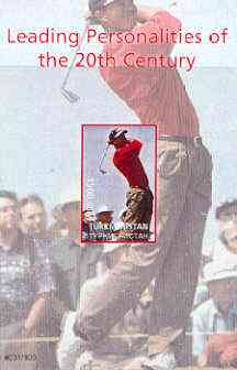 Turkmenistan 2000 Tiger Woods (Leading Personalities of the 20th Century) imperf souvenir sheet #2