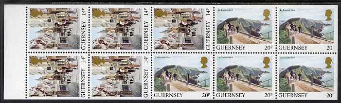 Guernsey 1984-91 Booklet pane of 10 (5 x 14p, 5 x 20p) from Bailiwick Views def set unmounted mint, SG 308a