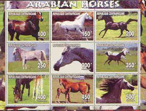 Central African Republic 2000 Arabian Horses perf sheetlet containing complete set of 9 values unmounted mint