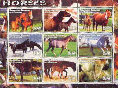 Comoro Islands 2000 Horses perf sheetlet containing complete set of 9 values unmounted mint