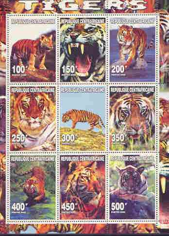 Central African Republic 2000 Tigers perf sheetlet containing complete set of 9 values unmounted mint