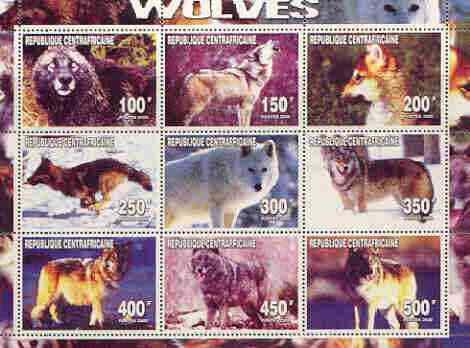 Central African Republic 2000 Wolves perf sheetlet containing complete set of 9 values unmounted mint