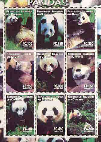 Comoro Islands 2000 Pandas perf sheetlet containing complete set of 9 values unmounted mint