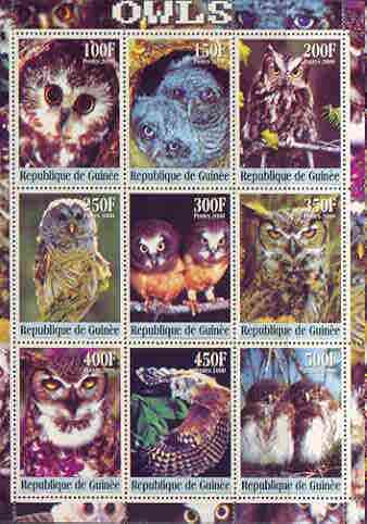 Guinea - Conakry 2000 Owls perf sheetlet containing complete set of 9 values unmounted mint