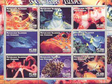 Comoro Islands 2000 Ocean Life perf sheetlet containing complete set of 9 values unmounted mint, stamps on marine life, stamps on fish, stamps on turtles, stamps on