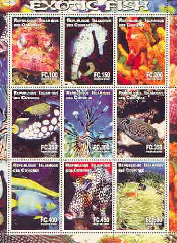 Comoro Islands 2000 Exotic Fish perf sheetlet containing complete set of 9 values unmounted mint
