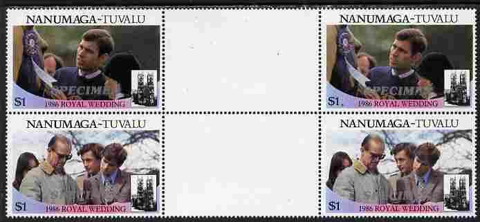 Tuvalu - Nanumaga 1986 Royal Wedding (Andrew & Fergie) $1 perf inter-paneau gutter block of 4 (2 se-tenant pairs) overprinted SPECIMEN in silver (Italic caps 26.5 x 3 mm) unmounted mint from Printer's uncut proof sheet