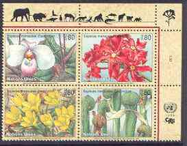 United Nations (Geneva) 1996 Endangered Species (4th series - plants) se-tenant block of 4, unmounted mint SG G290-93