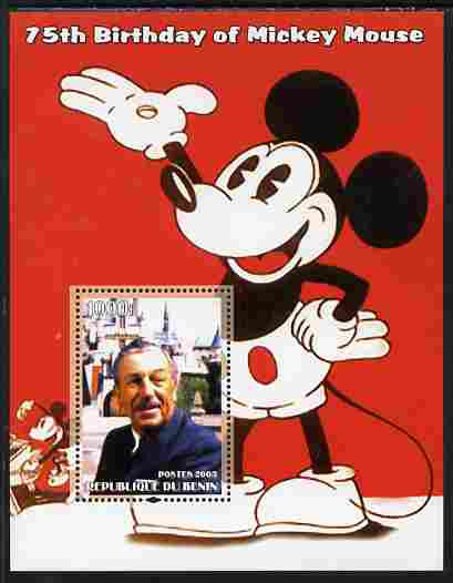 Benin 2003 75th Birthday of Mickey Mouse #09 perf s/sheet also showing Walt Disney, unmounted mint. Note this item is privately produced and is offered purely on its thematic appeal