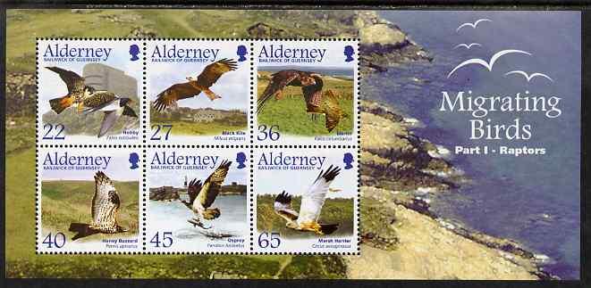 Guernsey - Alderney 2002 Migrating Birds (1st series) Raptors perf m/sheet unmounted mint, SG MSA191
