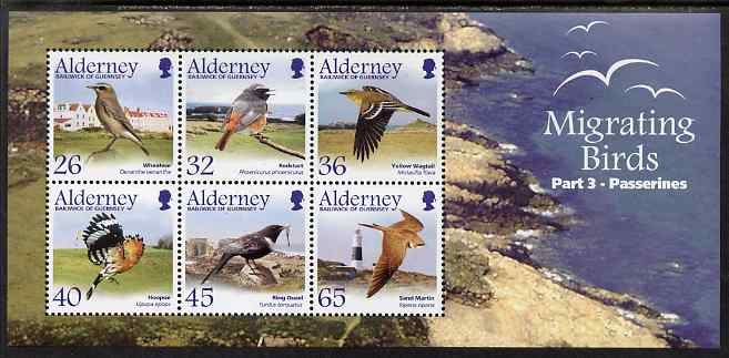 Guernsey - Alderney 2004 Migrating Birds (3rd series) Passerines perf m/sheet unmounted mint, SG MSA241