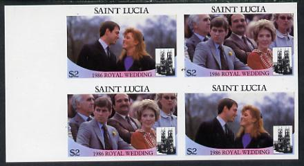 St Lucia 1986 Royal Wedding (Andrew & Fergie) $2 in unmounted mint imperf proof block of 4 (2 se-tenant pairs) without staple holes in margin and therefore not from booklets