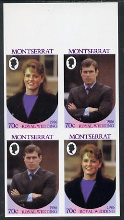 Montserrat 1986 Royal Wedding 70c in unmounted mint imperf proof block of 4 (2 se-tenant pairs) without staple holes in margin and therefore not from booklets