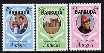 Barbuda 1981 Royal Wedding set of 3 (SG 572-74) gutter pairs available (price Pro rata) unmounted mint, stamps on royalty, stamps on diana, stamps on charles, stamps on
