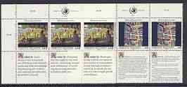 United Nations (Vienna) 1992 Declaration of Human Rights (4th series) set of 2 plus 2 labels (Builders & Sunday Afternoon by Seurat) each in blocks of 6 showing labels in...