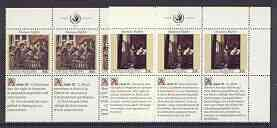 United Nations (NY) 1992 Declaration of Human Rights (4th series) set of 2 plus 2 labels (Lady Writing & the Meeting) each in blocks of 6 showing labels in 3 languages un...