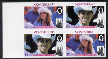 Montserrat 1986 Royal Wedding $2 in unmounted mint imperf proof block of 4 (2 se-tenant pairs) without staple holes in margin and therefore not from booklets