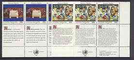 United Nations (NY) 1989 Declaration of Human Rights (1st series) set of 2 plus 2 labels (Table of Brotherhood & Composition) each in blocks of 6 showing labels in 3 lang...