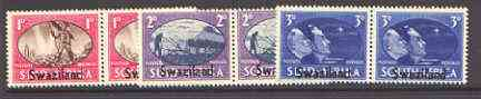 Swaziland 1945 Victory Commemoration set of 3 horiz pairs unmounted mint, SG 39-41