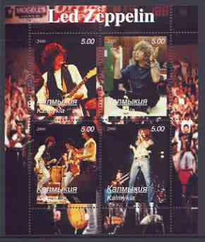 Kalmikia Republic 2000 Led Zeppelin perf sheetlet containing 4 values (vertical designs) unmounted mint