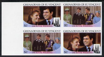 St Vincent - Grenadines 1986 Royal Wedding $2 in unmounted mint imperf proof block of 4 (2 se-tenant pairs) without staple holes in margin and therefore not from booklets