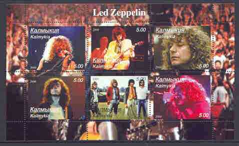 Kalmikia Republic 2000 Led Zeppelin perf sheetlet containing 6 values (horiz designs) unmounted mint
