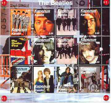 Karelia Republic 2000 The Beatles perf sheetlet containing complete set of 12 values unmounted mint