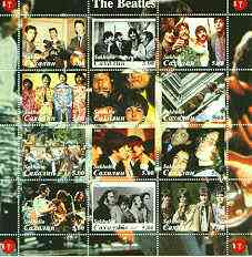 Sakhalin Isle 2000 The Beatles perf sheetlet containing complete set of 12 values unmounted mint