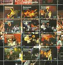 Kalmikia Republic 2000 Led Zeppelin perf sheetlet containing complete set of 12 values unmounted mint