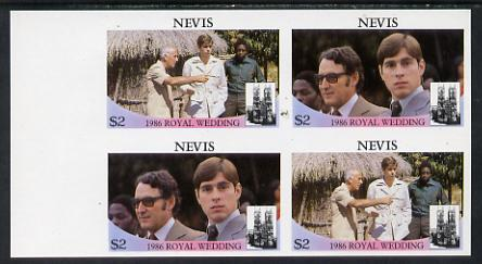 Nevis 1986 Royal Wedding $2 in unmounted mint imperf proof block of 4 (2 se-tenant pairs) without staple holes in margin and therefore not from booklets