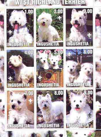 Ingushetia Republic 2000 Dogs (West Highland Terrier) perf sheetlet containing complete set of 9 values, each with Scout logo unmounted mint