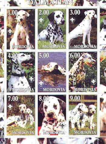 Mordovia Republic 2000 Dogs (Dalmation) perf sheetlet containing complete set of 9 values, each with Scout logo unmounted mint