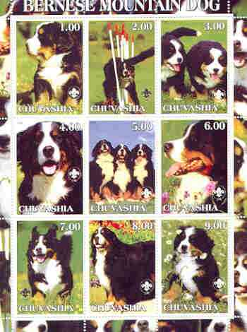 Chuvashia Republic 2000 Dogs (Bernese Mountain Dog) perf sheetlet containing complete set of 9 values, each with Scout logo unmounted mint, stamps on dogs, stamps on scouts, stamps on bernese