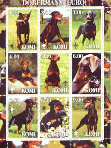 Komi Republic 2000 Dogs (Dobermann) perf sheetlet containing complete set of 9 values, each with Scout logo unmounted mint