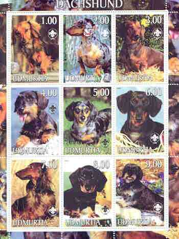 Udmurtia Republic 2000 Dogs (Dachshund) perf sheetlet containing complete set of 9 values, each with Scout logo unmounted mint