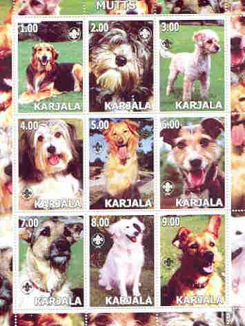 Karjala Republic 2000 Dogs (Mutts) perf sheetlet containing complete set of 9 values, each with Scout logo unmounted mint